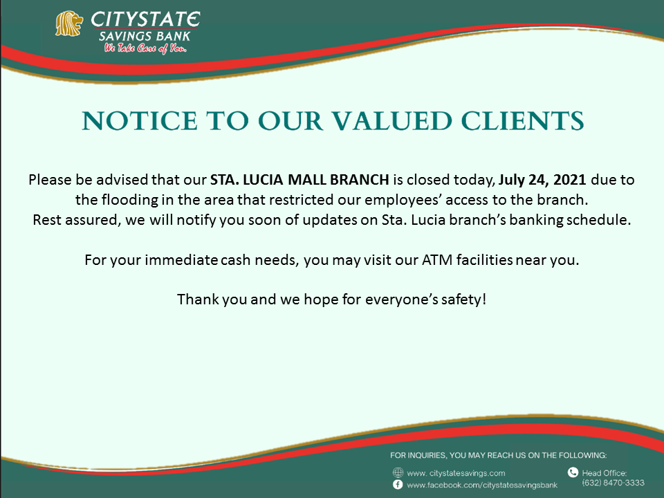 Sta. Lucia Mall Branch is Closed on July 24, 2021
