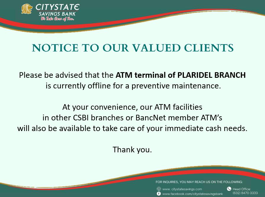 ATM Terminal of Plaridel Branch is Offline