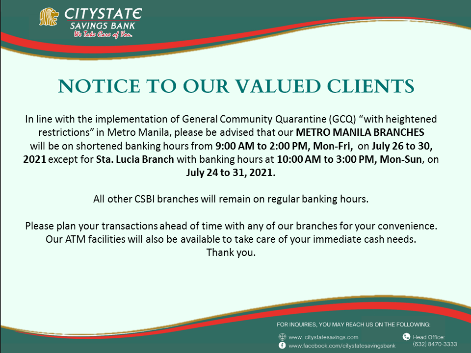 Shortened Banking Hours in Metro Manila (July 24-31, 2021)