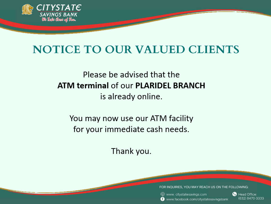 ATM Terminal of Plaridel Branch is Now Online