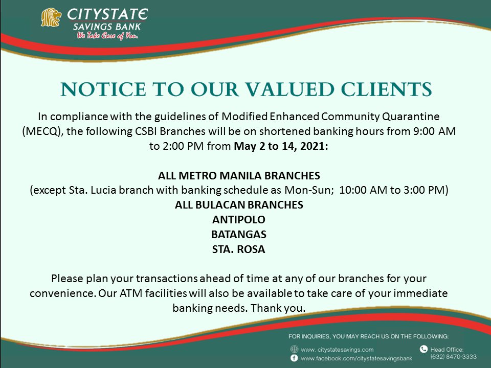 Notice to our valued clients