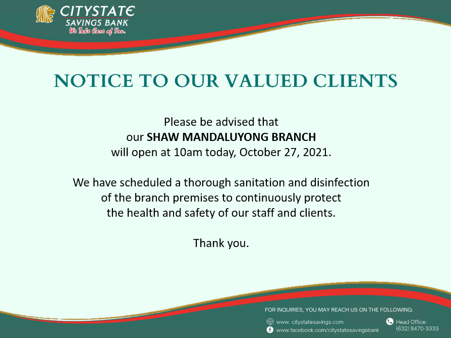 Shaw Mandaluyong Branch Banking Hours on October 27, 2021
