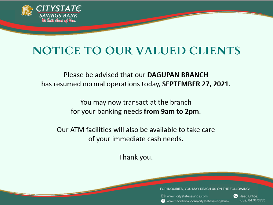 Dagupan Branch is Now Back to Normal Operations