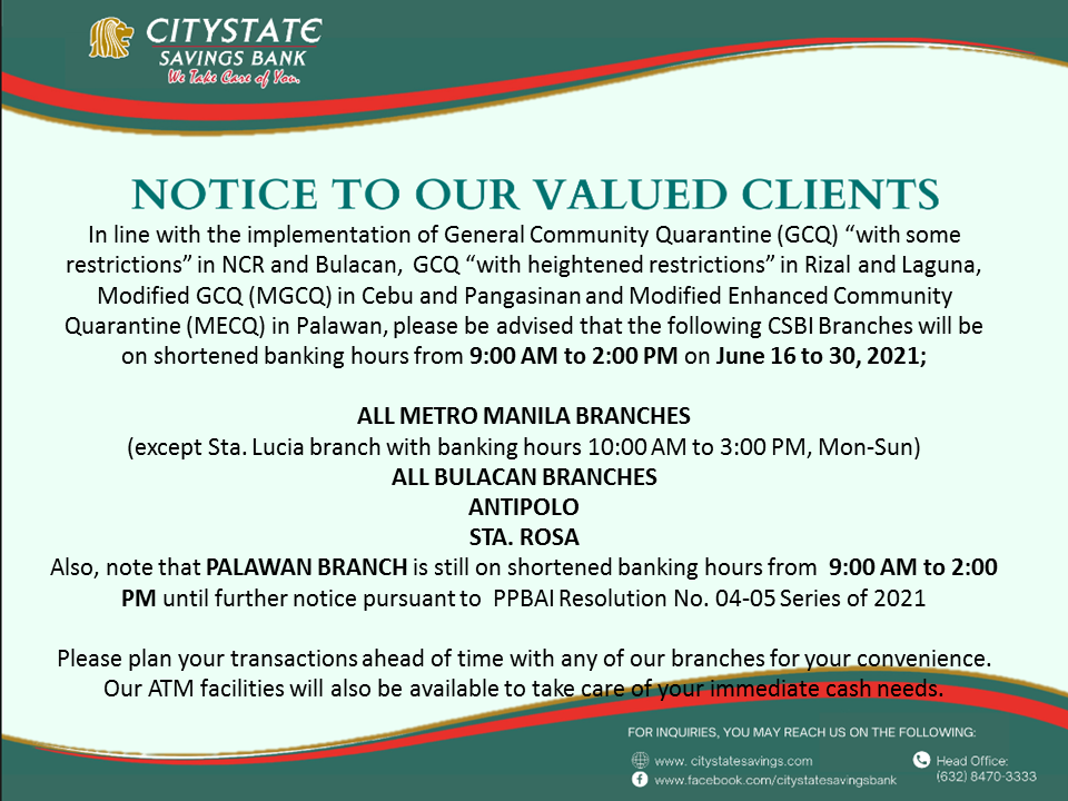 Banking Hours from June 16-30, 2021